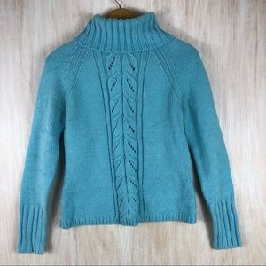 LOFT Bright Blue Knit Turtleneck Sweater